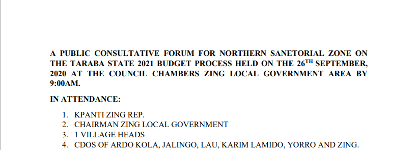 Northern Senatorial Zone Minutes of Meeting on the 2021 Budget Process