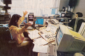 Tara Fields in her control room at KPIX radio