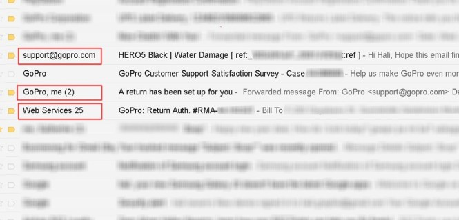 GoPro returns: 3 emails