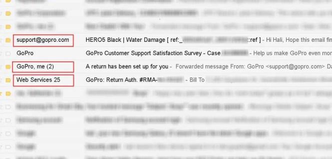 gopro returns 3 emails