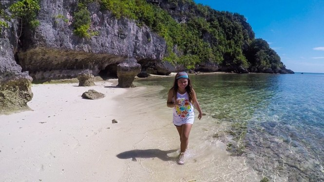 Kat in private beach in Buton Island