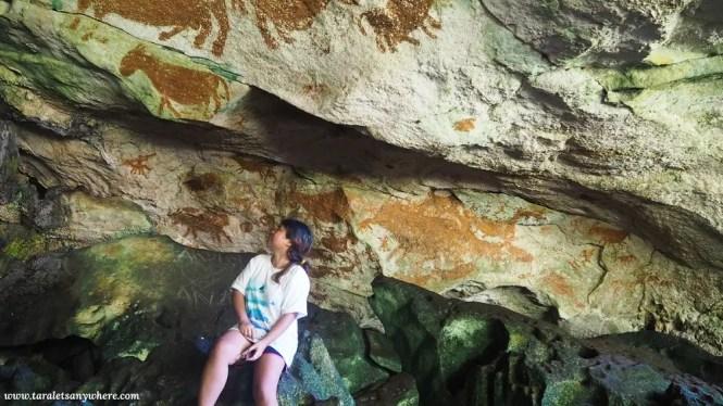 Ancient wall paintings in Liang Kobori, Muna Island