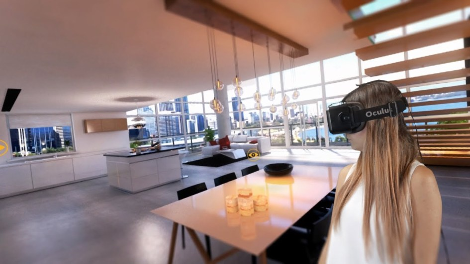 woman using VR to view real estate