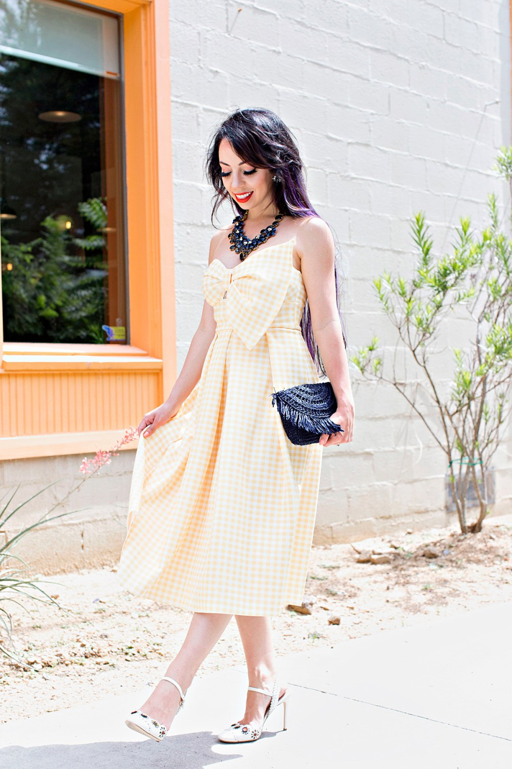 yellow gingham bow dress