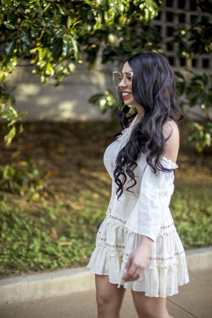 misa cream mini dress