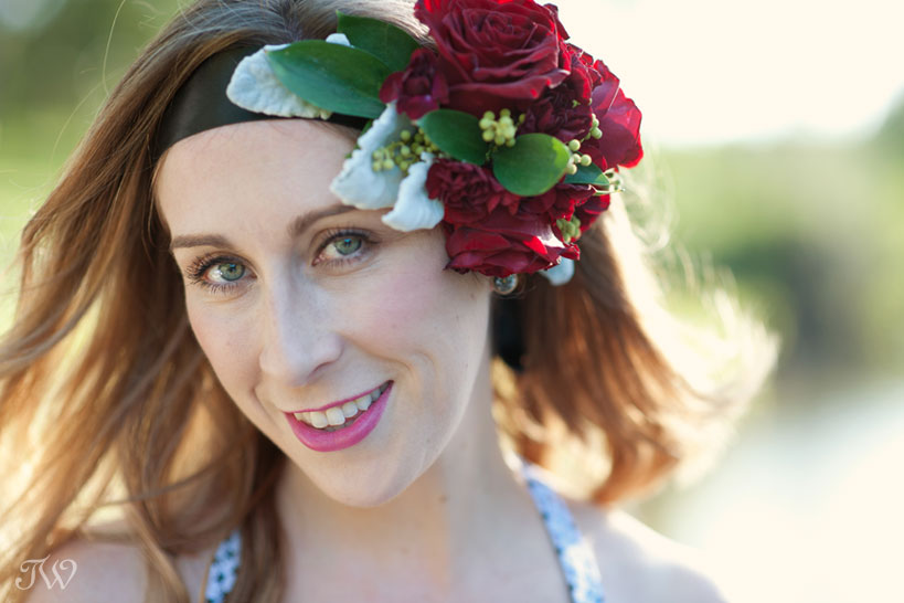 Becky from Velvet & Vino wears a flower crown captured by Tara Whittaker Photography