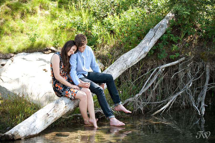 couple snuggle on a log during engagement pictures by Tara Whittaker Photography