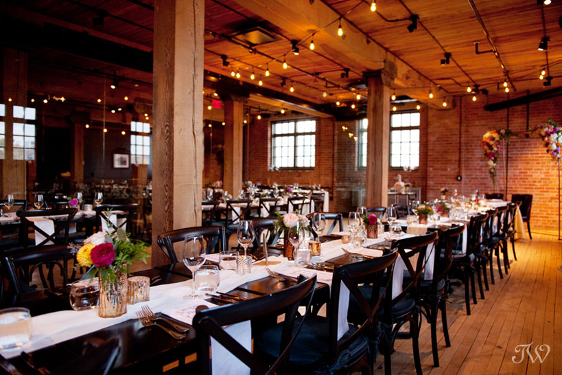 Wedding reception space at a Charbar Calgary wedding captured by Tara Whittaker Photography