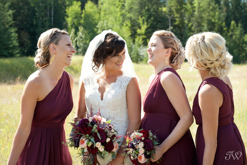 bride with her bridesmaids after her Quarry Lake wedding captured by Tara Whittaker