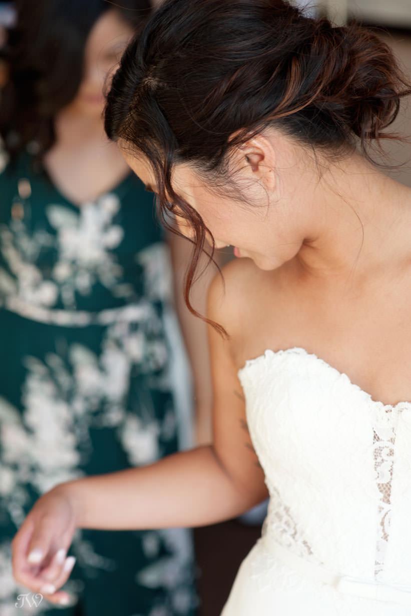 bride getting ready captured by Calgary wedding photographer Tara Whittaker