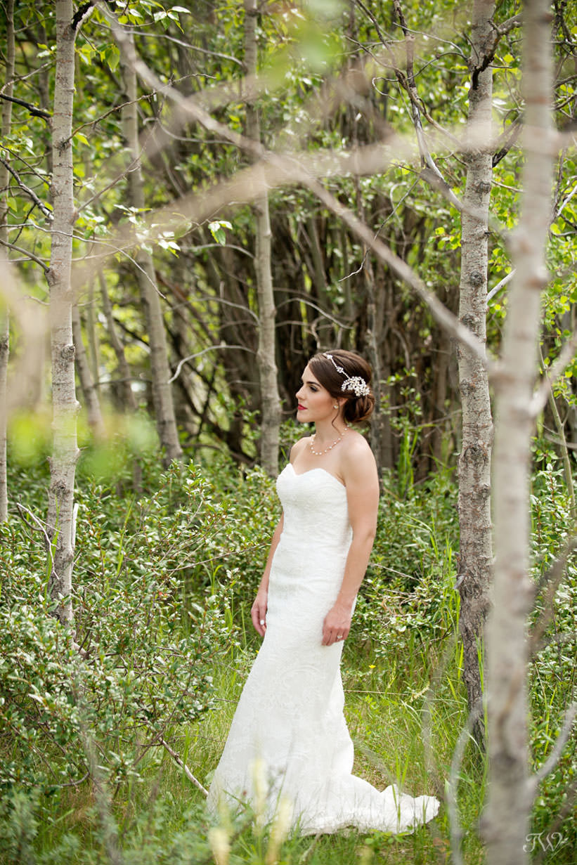bride before her Rocky Mountain elopement at Barrier Lake captured by Tara Whittaker Photography