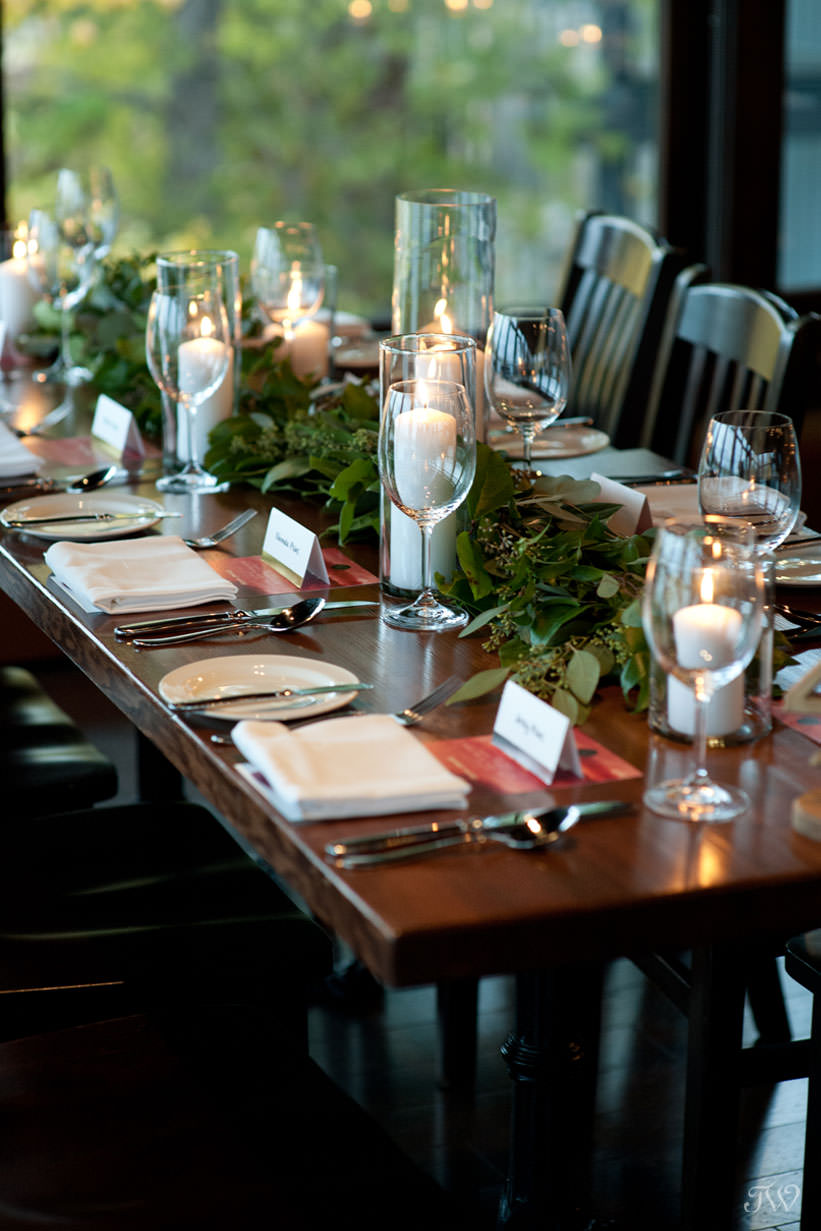 fall wedding decor at a Lake House wedding captured by Calgary wedding photographer Tara Whittaker