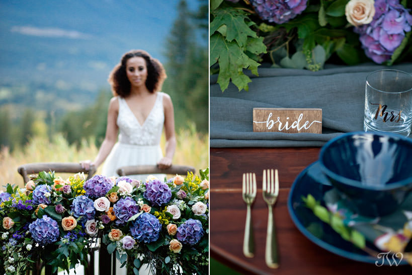 sweetheart table at a Silvertip wedding captured by Calgary wedding photographer Tara Whittaker