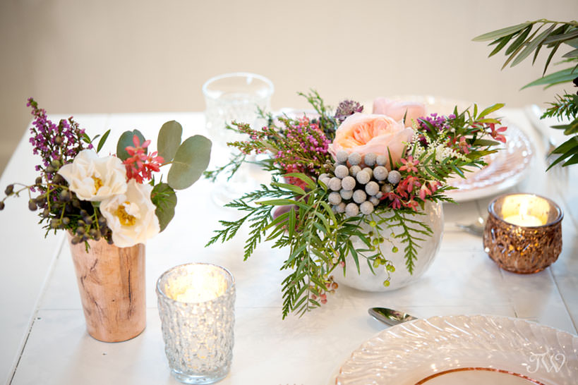 tabletop details winter wedding inspiration captured by Calgary wedding photographer Tara Whittaker