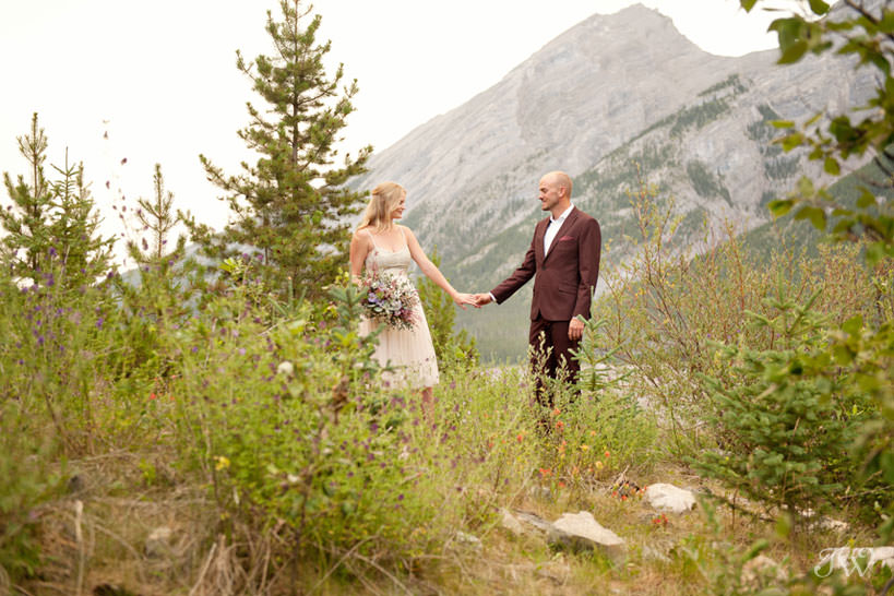 Bride and groom at their Spray Lakes engagement session captured by Tara Whittaker Photography