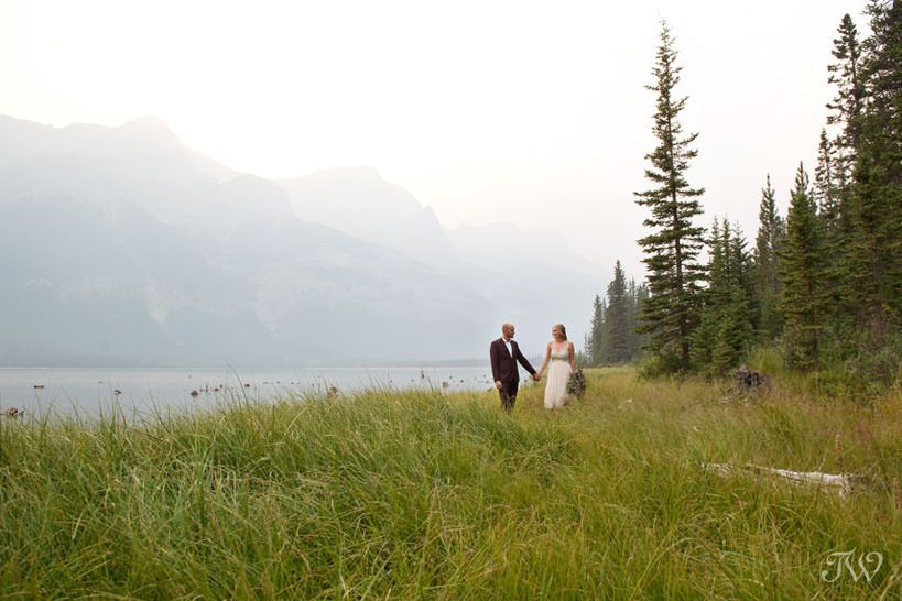 Mountain views during a Spray Lakes engagement session captured by Tara Whittaker Photography