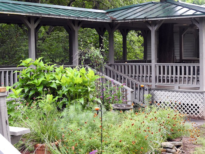 Covered walkway and gazebo with our native plant garden