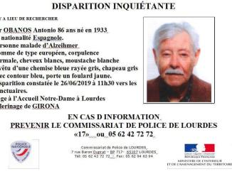 Lourdes disparition inquiétente d'un pélerin de 86 abs