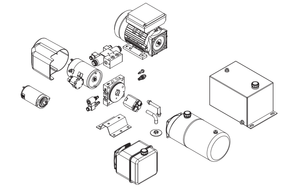 medium resolution of various components of a hydraulic power pack before the assembly process