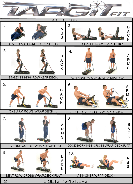 Workout Charts For The Targitfit Portable Gym
