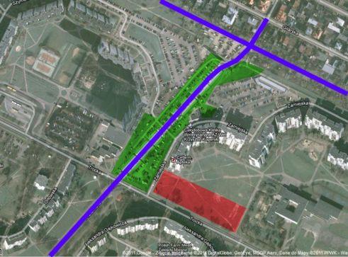 Pomysł na przeniesienie bazarku na działkę wzdłuż Trockiej autorstwa internauty lariusa z forum Skyscraper