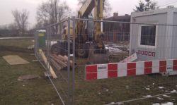 Zaplecze budowy kanalizacji  na Fantazyjnej