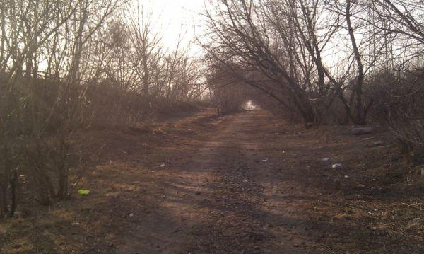 Droga wzdłuż torów nazywana przed wojną Plantową jest raczej mało zachęcająca do spacerów (zdjęcie sprzed roku). Po lewej stronie widać podjazd na nasyp kolejowy - tędy jeździły furmanki na Stalową, która jest zaraz po drugiej stronie torów.