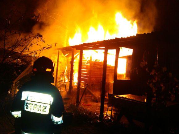 Pożar na działkach przy ul. Janowieckiej /fot. Straż Pożarna