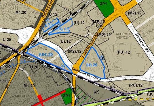 Niebieskimi liniami zaznaczono obszary zmian.  Liczba po U to dopuszczalna wysokość. Przy okazji zwróćcie uwagę, że Trasa Świętokrzyska jest wpisana w studium a zielony skwerek na Szmulkach jest po prostu zmniejszony
