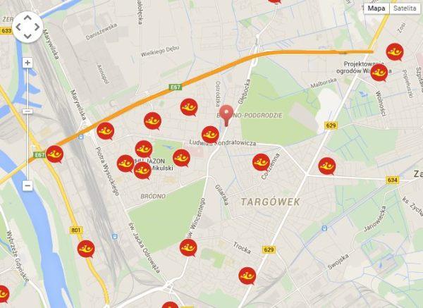 Mapa urzędów pocztowych w dzielnicy Targówek / materiały Poczty Polskiej