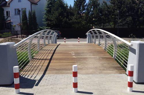 Słupki blokują wjazd na mostek samochodom - ale nie chronią pieszych, rowerzystów, rolkarzy... / fot. targowek.info