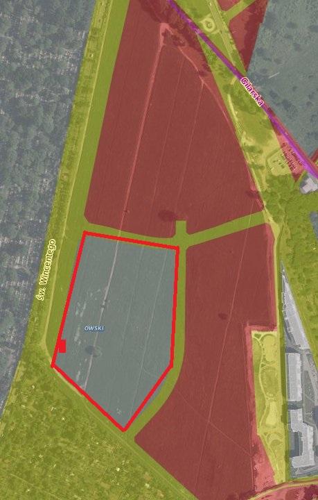 Czerwonym kwadratem zaznaczyliśmy pawilon z biurem sprzedaż / zdjęcie satelitarne urząd miasta, grafika targowek.info