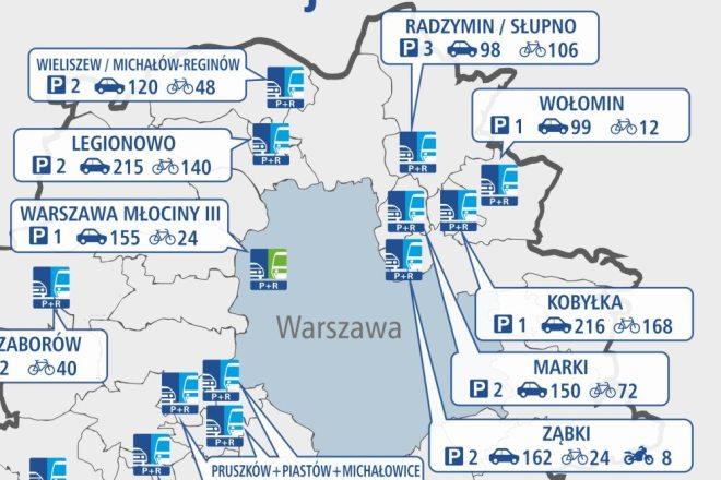 Parkingi planowane pod Warszawą / mapa ZTM