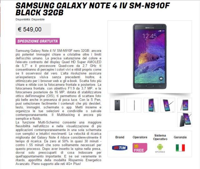 glistockisti samsung galaxy note 4 in offerta