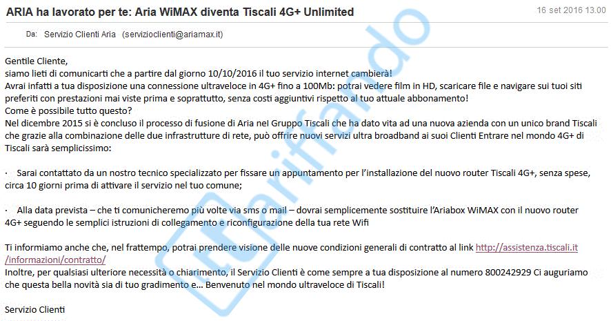 E-mail di migrazione dei clienti Aria WiMax verso Tiscali 4G+