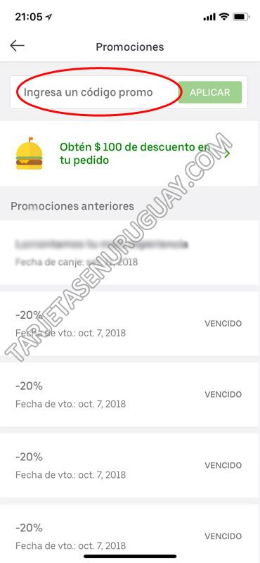 Código promocional Uber Eats Uruguay