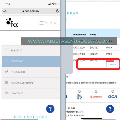 Pagar TCC con Tarjeta Visa en Internet.