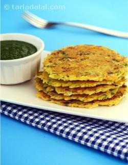 Cooked Rice Pancakes, are made with a dough of cooked rice bound together with besan. The addition of shredded veggies brings in loads of nutrients while green chillies and coriander add a savoury touch.