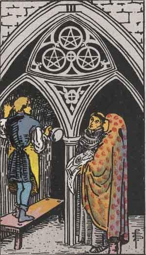 Three of PentaclesTarot card