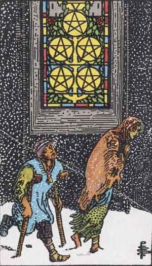 Five of Pentacles Tarot card
