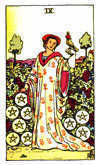 Tarot Minor Arcana card: Nine of Pentacles