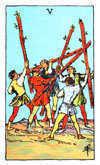 Tarot Minor Arcana card: Five of Wands
