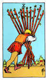 Tarot Minor Arcana card: Ten of Wands