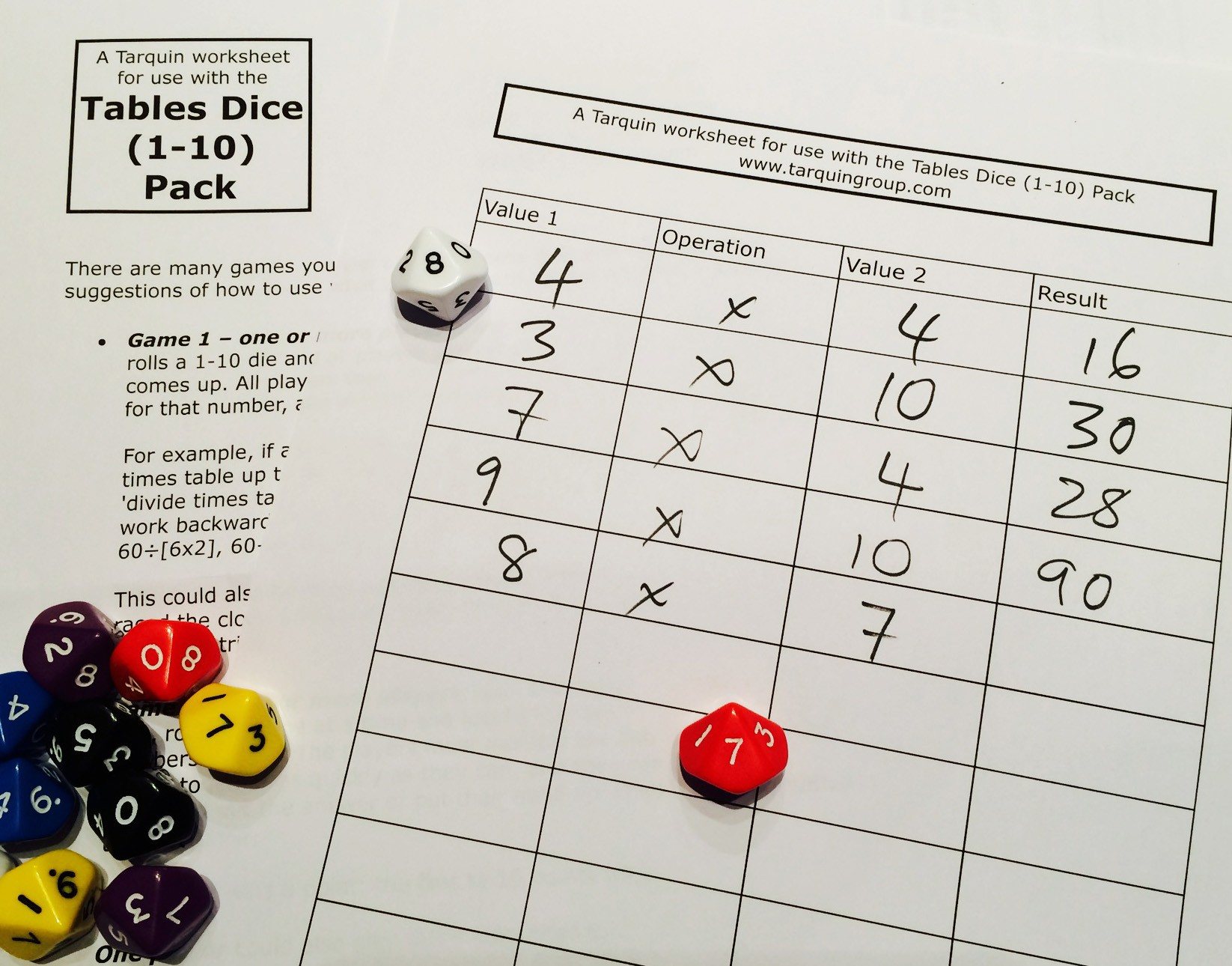Roll Dice Multiplication Worksheet