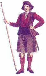 18th century painting of a man from the city of Betanzos,  still wearing the kilt at a time when  trousers fashion was arriving to Galicia
