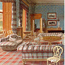 A Balmoral Castle interior showing tartan everywhere.