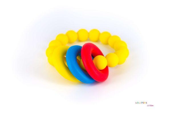 Pulseira Mordedor Amarelo Donut Teether Bracelet Yellow Lollipops & More Tartaruguita