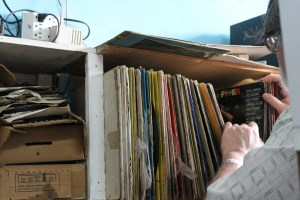 Steve searching through the stacks. He said they were pretty picked over.  After all the searching he only found one record he was looking for.