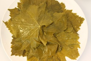 The grape leaves. be sure to rinse them thoroughly after remaoving them from the brine.