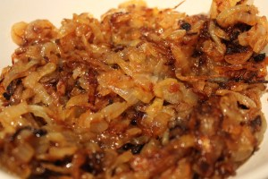 I like my onions well caramelized. This took about 30 minutes.